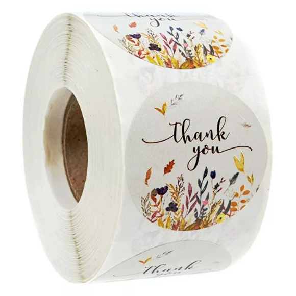 Other - 500pcs Floral Thank you stickers